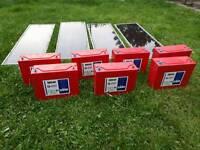 4 solor panels plus 7 hawker sbs40 power safe batteries