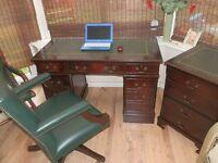 Antique Style Leather Pedestal Desk, matching separate filling cabinet, Gainsborough Captain Chair
