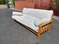 Solid Oak 3 Seater Futon Sofa Cream By Company Brand New