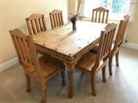 Solid oak farmhouse dining table with 6 accompany chairs