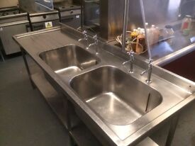 Large Double Commercial Sink ,Excellent Condition With Taps 208 cm Wide,70 cm Deep and 87 cm High