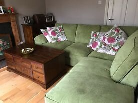 Immaculate corner sofa, apple green cord fabric. URGENT SALE REQUIRED!