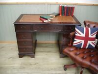 Stunning Brown Leather Inlay Desk and Chesterfield Captains Chair