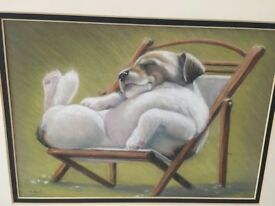 original pastel painting of dog in chair - signed