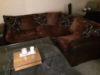 Brown L Shaped Corner Sofa For Sale