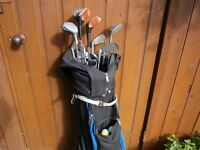 Set of mixed golf clubs,balls and bag