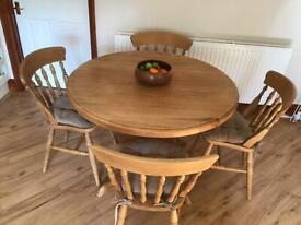 Light Oak Table and 4 Chairs