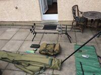 Pike Fishing Setup, including rods, reels, rod pod, alarms, and equipment