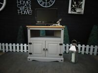 SOLID PINE LARGE TV CABINET WITH 2 DOORS AND SHELF PAINTED WITH LAURA ASHLEY GREY COLOUR