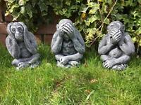 Wise monkeys garden ornaments