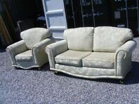 CAN DELIVER - FABRIC LIGHT GREEN 2-SEATER SOFA + ARMCHAIR IN VERY GOOD CONDITION