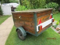 REDUCED! SALE! TRAILER 4' x 3' X 2' SOLID PINE BOARDS + LIGHTS + LOCKABLE LID + NEW SPARE WHEEL
