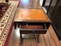 Antique desk with drawer and winged extensions