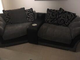 Speaker sofa with swivel round.