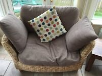 £120 suite of furniture - 3 seater Sofa, 2 large armchairs, storage footstool & glass top table