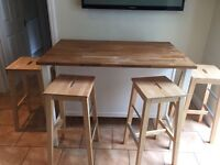 Solid Oak Kitchen Island with 4 stools