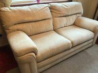 G plan two seater cream fabric sofa