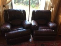 Burgandy leather recliner sofa and two reclining leather chairs