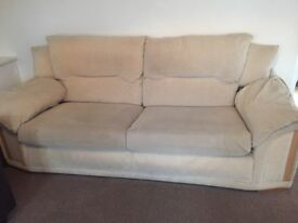 Two piece suite - 3 and 2 seater matching sofas and cushions