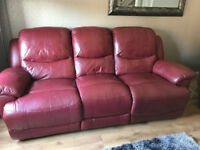 Red Leather Suite 3 & 2 seaters