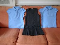 GIRLS SCHOOL PINAFORE in GREY AGE 11-12 YEARS plus TWO CAP SLEEVE POLO SHIRTS AGE 12-13 YEARS.