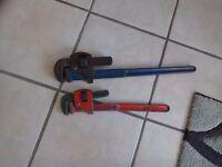 24 inch.( Record) make. 18 inch( Draper) make wrenches.