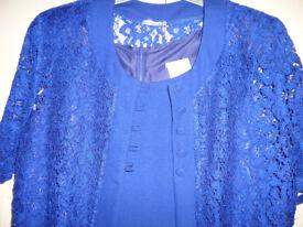 BEAUTIFUL BLUE SHIFT DRESS WITH MATCHING LONG JACKET
