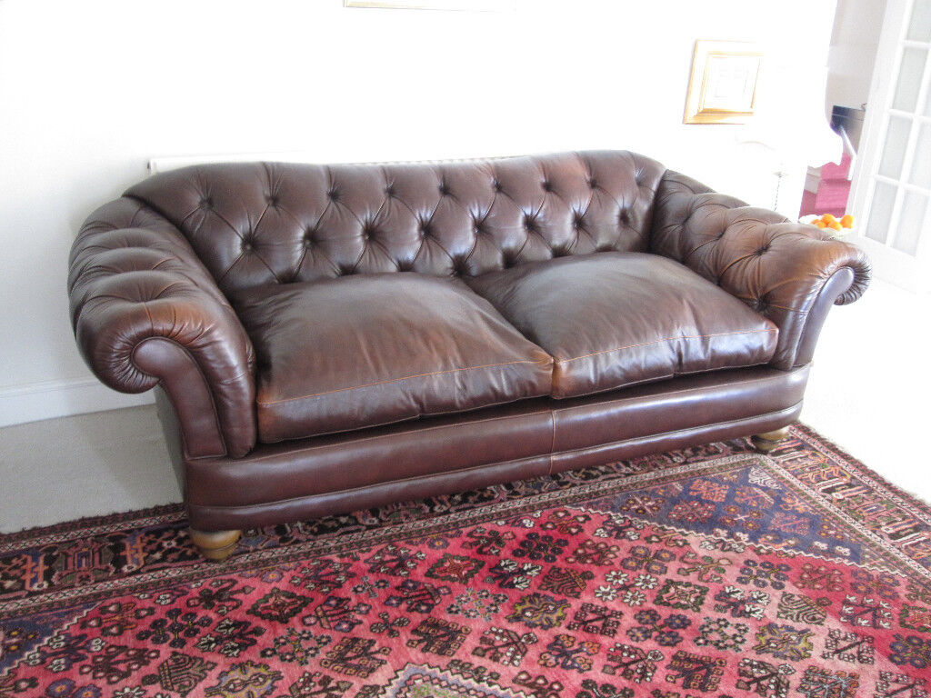 Laura Ashley Melrose Settee 3 Seater Brown Leather Chesterfield