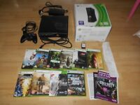 XBOX 360 PLUS ALL CONNECTIONS,BOX,INSTRUCTIONS AND 9 GAMES,ORIGINAL FROM NEW RECIPT,GAMES WERE NEW