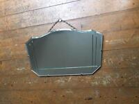 Frameless Vintage Art Deco Mirror 1950's 1960's Retro with Chain and Bevelled Detail
