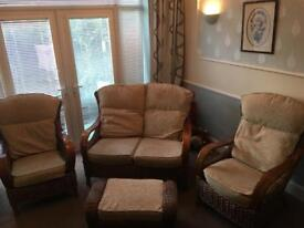 Sofa, 2 chairs & footstool. Perfect for a conservatory