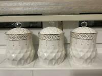Set of 3 Tea Coffee Sugar Jars Pots Kitchen Storage Tight Lid