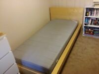 IKEA beech effect single bed with mattress, very good condition