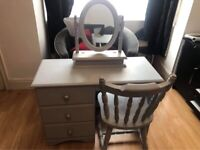 Dressing table, grey, 3 draws with chair & mirror included