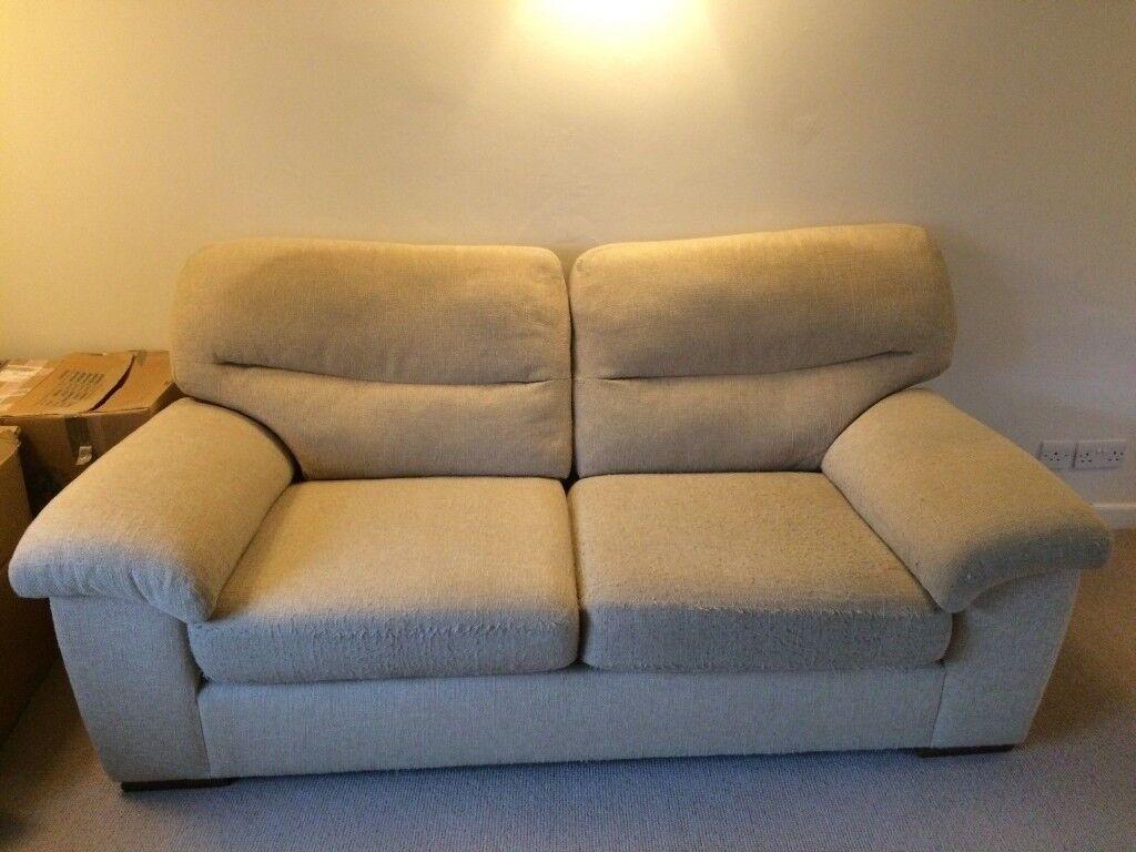 Free M S Sofa In Beige Cream Chenille Fabric Medium Size 2 3
