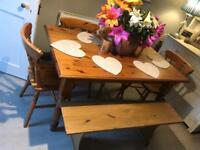 Small farmhouse dining table and 4 chairs bench