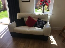 Leather 2 Seater Sofa + 2 Seater Swivel Chair & Foot Rest
