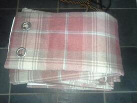 Next red stirling check curtains and 3 cushions