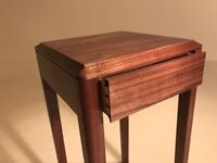 Black American walnut and maple draw side table.
