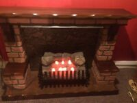 Fire surround (Brick) electric glow log effect fire