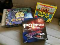 Selection of board games (Pointless, Don't Say It, Trivial Pursuit)
