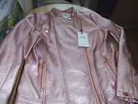 GIRL'S M & S PINK JACKET. NEW WITH TAGS. 13 TO 14 YEARS.