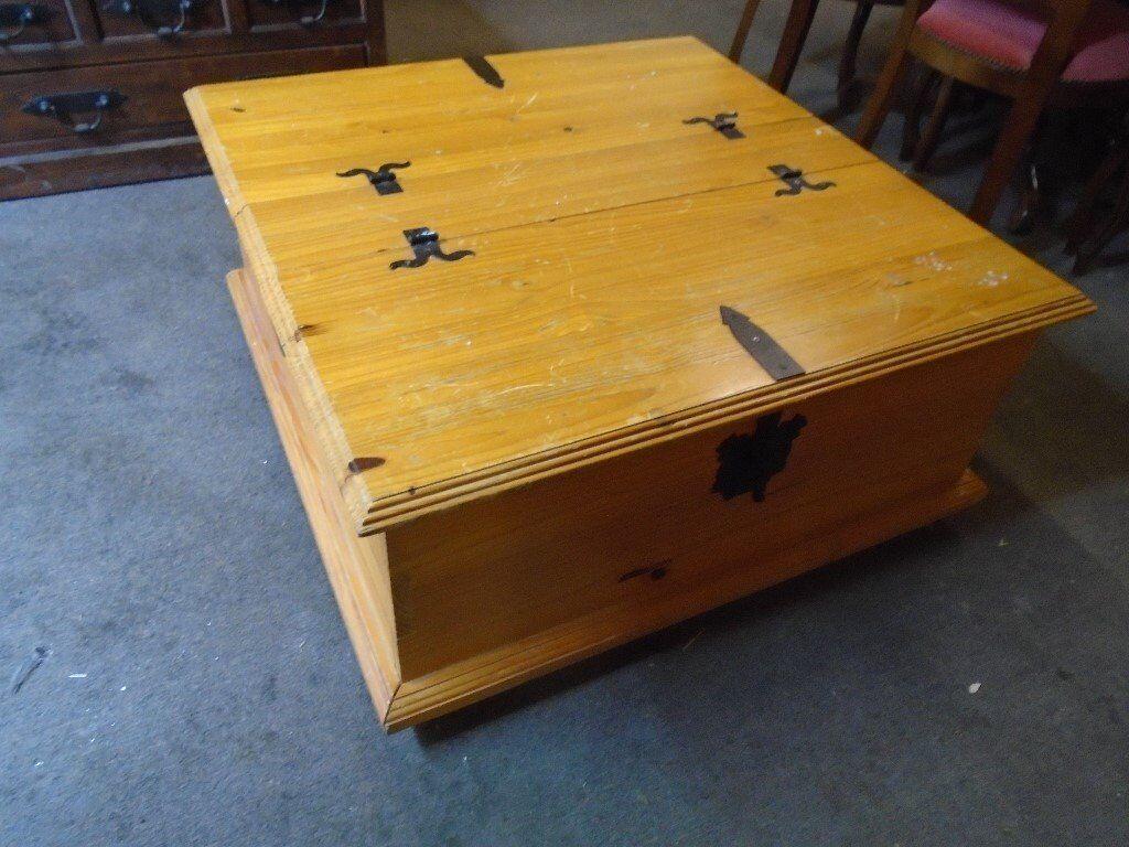 Large Pine Coffee Table Storage Box