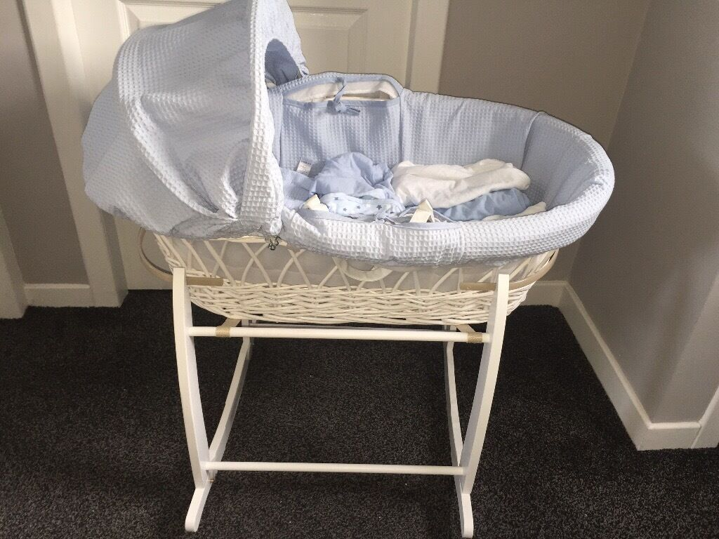MOSES BASKET/STAND/BLANKETSin DundeeGumtree - White and blue Moses basket. Comes with mattress. I binned the cheap mattress that comes with these and bought a new thicker breathable one which the cover comes off to wash. 1x grey cellular blanket 1x blue cellular blanket 1x swaddle blanket 3x...