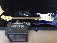 Fender Squier Strat Electric Guitar, with case & Micro Cube Amplifier