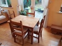 Table & 4 chairs, solid wood, kitchen/dining room