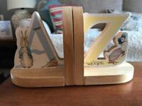 Peter Rabbit A-Z wooden bookends