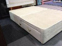 Double divan bed base with drawer