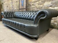 Italian Grey Leather CHESTERFIELD BUTTONED SOFA