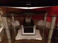 GLASS TV STAND (CLEAR GLASS) - THREE TIERS